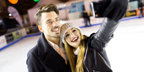 Can't miss the ice-skating date night during the winter. This is a classic!