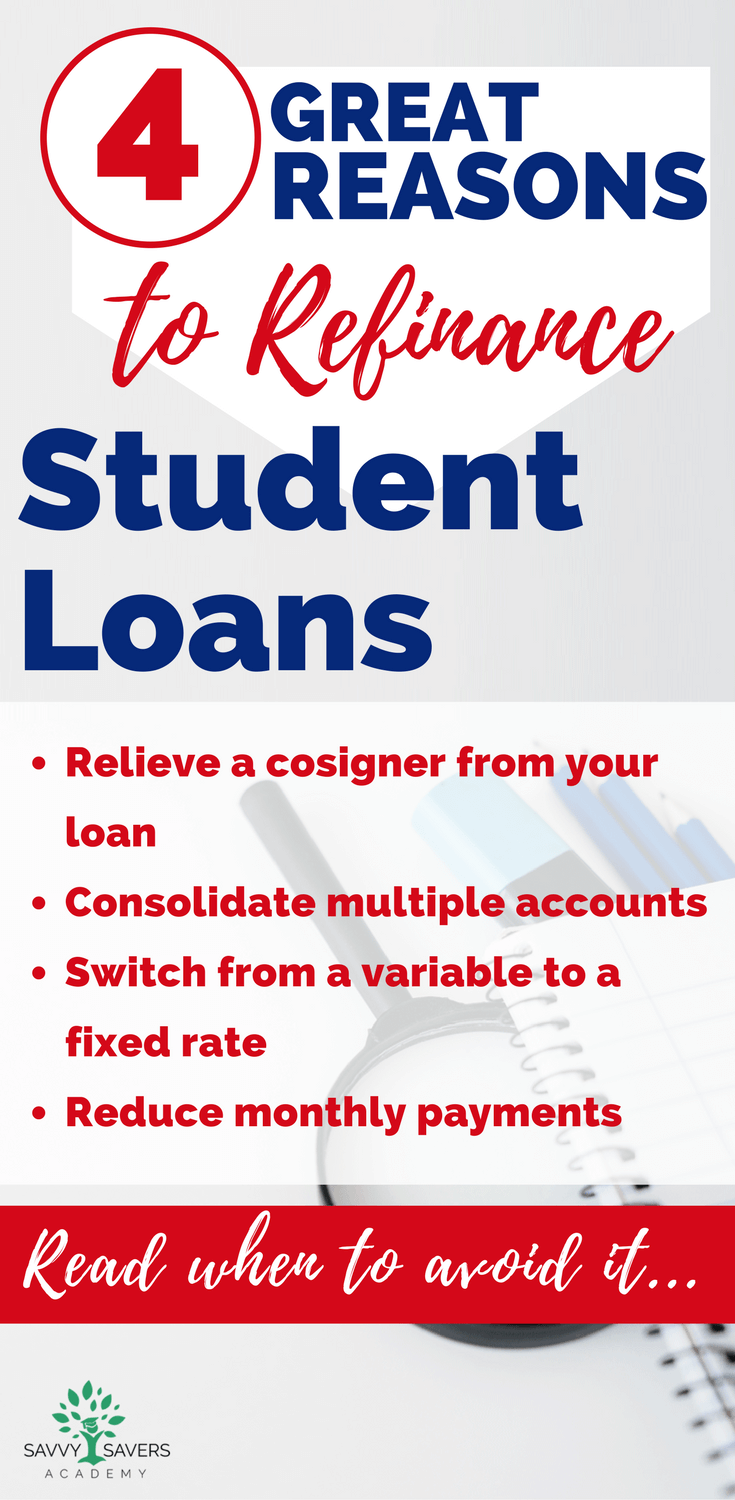 Great tips to follow for when you should or shouldn't apply to refinance your student loans. Paying off debt and student loans is one of the best things you can do to free up your finances and money in your budget.
